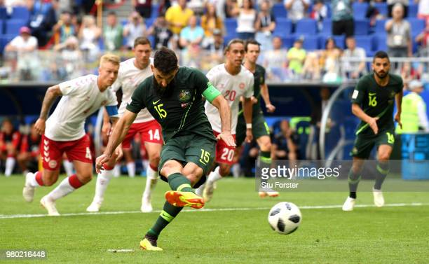 Mile Jedinak of Australia scores his team's first goal from the penalty spot during the 2018 FIFA World Cup Russia group C match between Denmark and...