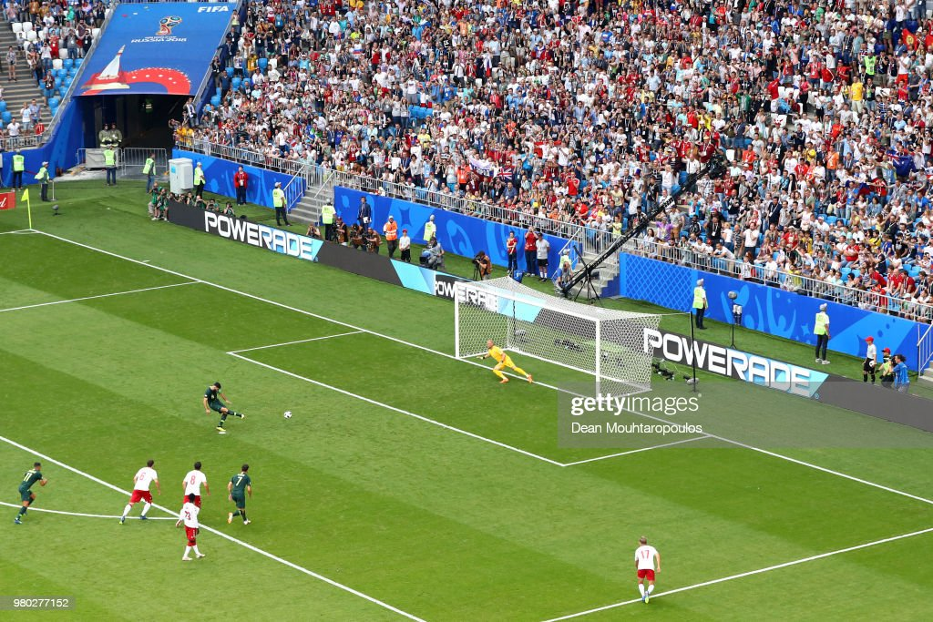 Mile Jedinak of Australia scores past Kasper Schmeichel of Denmark his team's first goal from the penalty spot during the 2018 FIFA World Cup Russia group C match between Denmark and Australia at Samara Arena on June 21, 2018 in Samara, Russia.