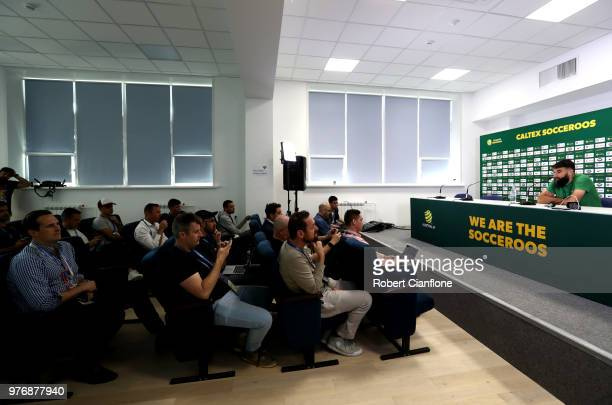 Mile Jedinak of Australia speaks during an Australia Socceroos media opportunity at Stadium Trudovye Rezervy on June 17 2018 in Kazan Russia