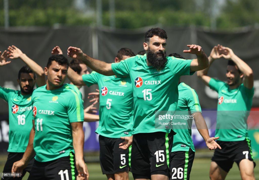 Mile Jedinak of Australia trains during the Australian Socceroos Training Session at the Gloria Football Club on June 4, 2018 in Antalya, Turkey.