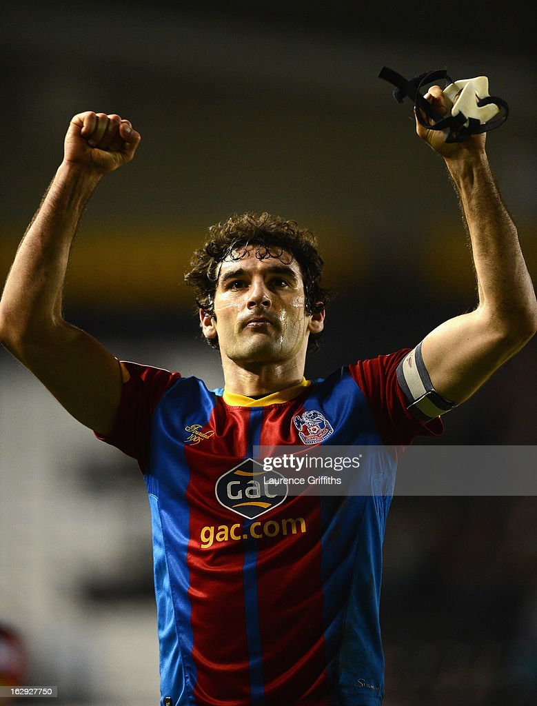 Mile Jedinak of Crystal Palace applauds the travelling fans during the npower Championship match between Derby County and Crystal Palace at Pride Park Stadium on March 1, 2013 in Derby, England.