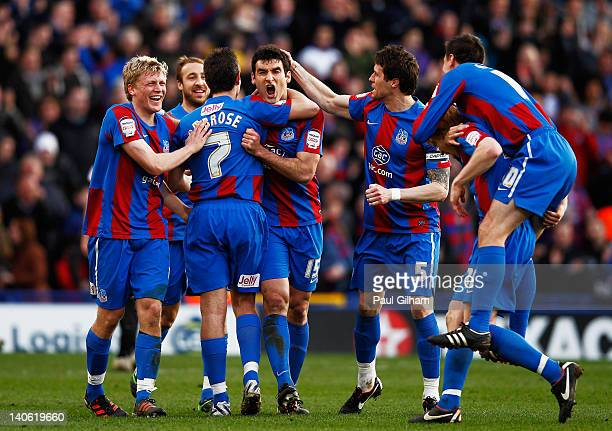 Mile Jedinak of Crystal Palace celebrates scoring the first goal for Crystal Palace during the npower Championship match between Crystal Palace and...