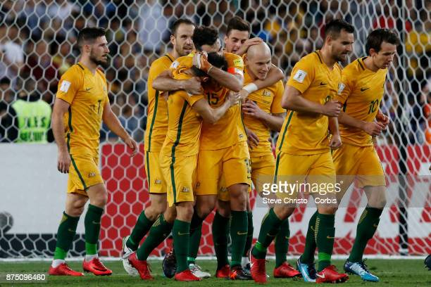 Mile Jedinak of the Australia celebrates his third goal during the 2nd leg of the 2018 FIFA World Cup Qualifier between the Australia and Honduras at...