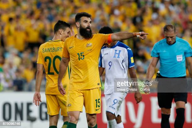 Mile Jedinak of the Australia marshals his troops before a corner during the 2nd leg of the 2018 FIFA World Cup Qualifier between the Australia and...