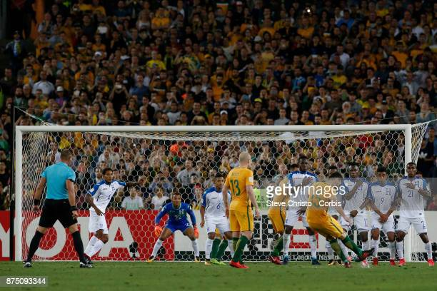 Mile Jedinak of the Australia scores with the first goal with this free kick during the 2nd leg of the 2018 FIFA World Cup Qualifier between the...