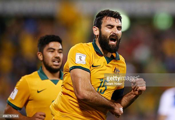 Mile Jedinak of the Socceroos celebrates scoring a goal from a penalty kick during the 2018 FIFA World Cup Qualification match between the Australian...