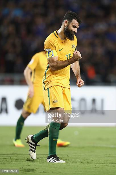 Mile Jedinak of the Socceroos celebrates scoring Australia's first goal during the 2018 FIFA World Cup Qualifier match between Thailand and the...