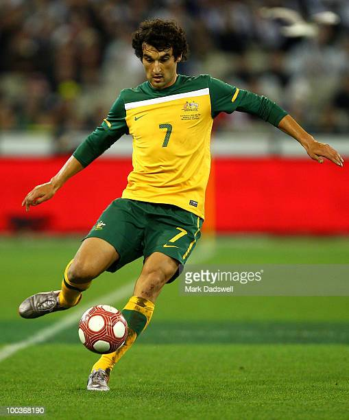 Mile Jedinak of the Socceroos passes the ball during the 2010 FIFA World Cup PreTournament match between the Australian Socceroos and the New Zealand...