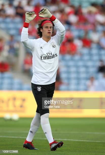 Mile Svilar from SL Benfica in action during warm up before the start of the International Champions Cup match between SL Benfica and Lyon at Estadio...