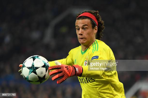 Mile Svilar of Benfica in action during the UEFA Champions League group A match between Manchester United and SL Benfica at Old Trafford on October...