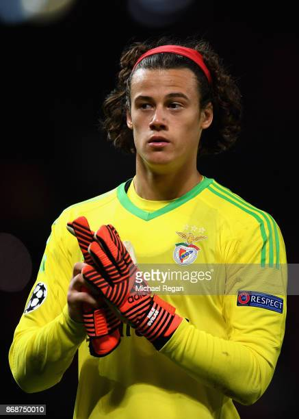Mile Svilar of Benfica looks dejected following the UEFA Champions League group A match between Manchester United and SL Benfica at Old Trafford on...