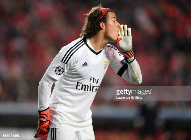 Mile Svilar of Benfica looks on during the UEFA Champions League group A match between SL Benfica and Manchester United at Estadio da Luz on October...