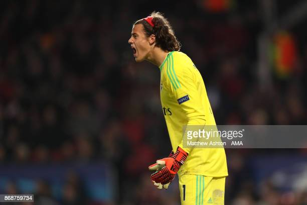 Mile Svilar of Benfica shouts during the UEFA Champions League group A match between Manchester United and SL Benfica at Old Trafford on October 31...