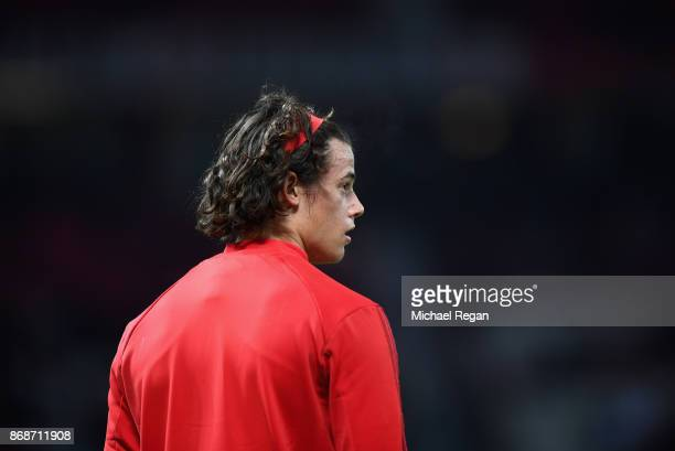 Mile Svilar of Benfica warms up prior to the UEFA Champions League group A match between Manchester United and SL Benfica at Old Trafford on October...