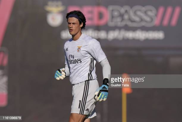 Mile Svilar of SL Benfica in action during the Liga Pro match between SL Benfica B and GD Estoril Praia at Caixa Futebol Campus on August 5 2019 in...