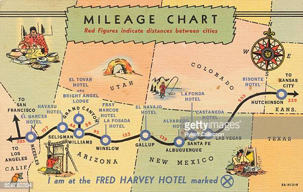 Mileage Chart Red Figures indicate distances between cities I am at the Fred Harvey Hotel marked 'X' From the wheat fields of Kansas to the orange...