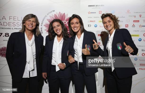 Milena Bertolin Laura Fusetti Barbara Bonansea and Cristiana Girelli attend the Italian Football Federation Meeting on September 7 2018 in Milan Italy