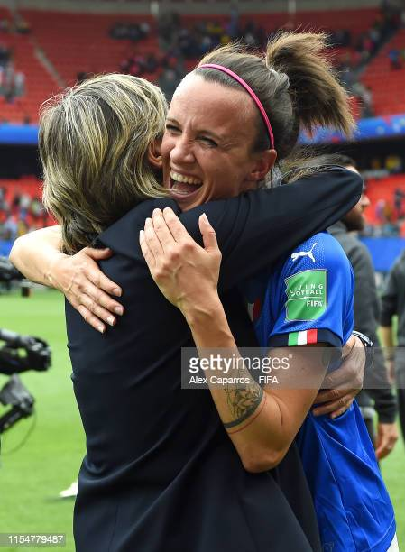 Milena Bertolini head coach of Italy and Barbara Bonansea of Italy celebrate following their sides victory in during the 2019 FIFA Women's World Cup...