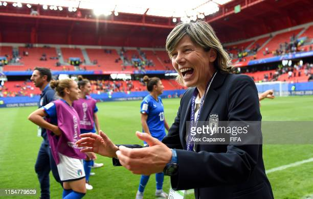 Milena Bertolini head coach of Italy celebrates victory in the 2019 FIFA Women's World Cup France group C match between Australia and Italy at Stade...