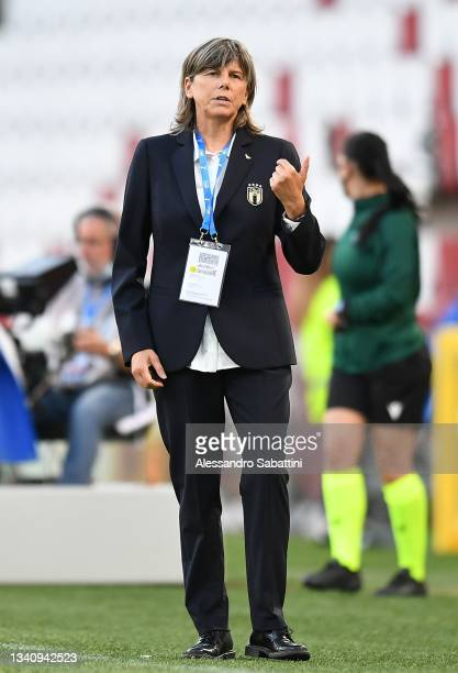 Milena Bertolini head coach of Italy Women gestures during the FIFA Women's World Cup 2023 Qualifier group G match between Italy and Moldova at...