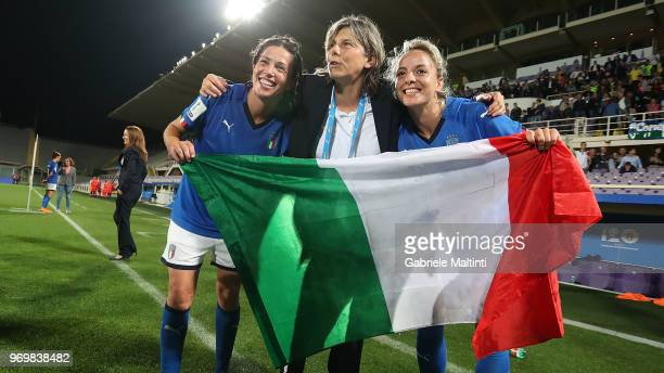 Milena Bertolini magaer of Italy celebrates the victory during the 2019 FIFA Women's World Cup Qualifier match between Italy and Portugal at Stadio...