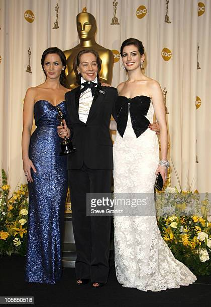 Milena Canonero winner Best Costume Design for Marie Antoinette with presenters Emily Blunt and Anne Hathaway