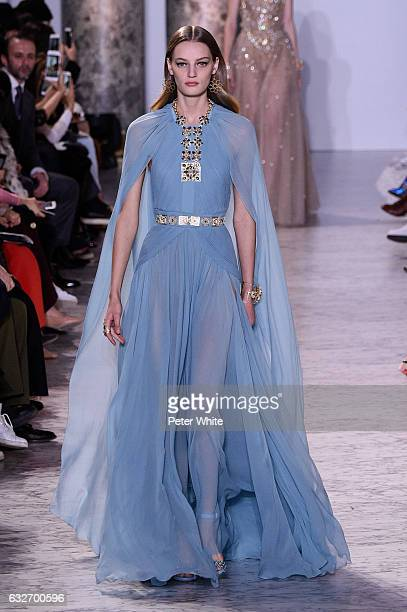 Milena Feuerer walks the runway during the Elie Saab Spring Summer 2017 show as part of Paris Fashion Week on January 25 2017 in Paris France