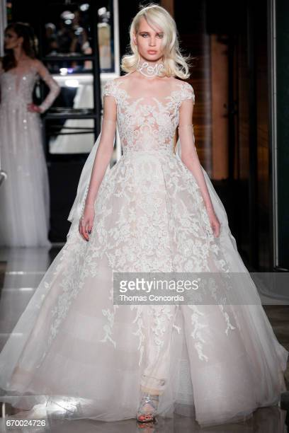 Milena Garbo walks the runway wearing Reem Acra at Tiffany Co on April 18 2017 in New York City