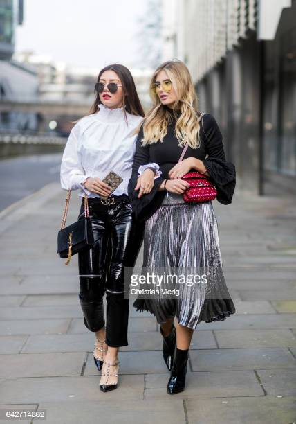 Milena Karl wearing black cropped vinyl pants white blouse YSL bag Valentino heels Xenia van der Woodsen wearing a black knit silver skirt yellow...