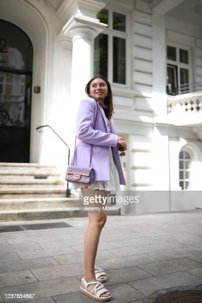 Milena Karl wearing LoveShackFancy dress, & other stories blazer, Chanel bag and sandals and Bottega Veneta sunnies on May 28, 2020 in Hamburg,...
