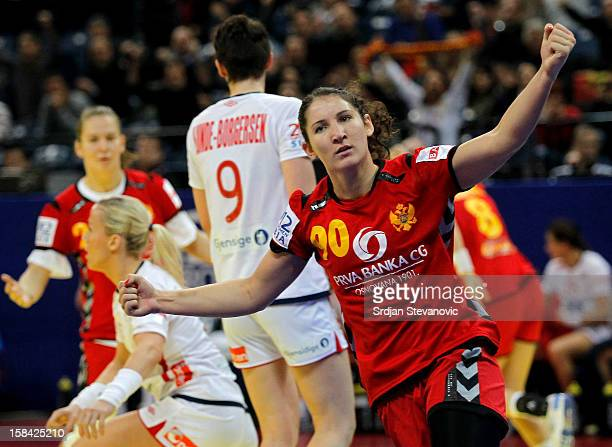Milena Knezevic of Montenegro celebrates the goal during the Women's European Handball Championship 2012 gold medal match between Norway and...