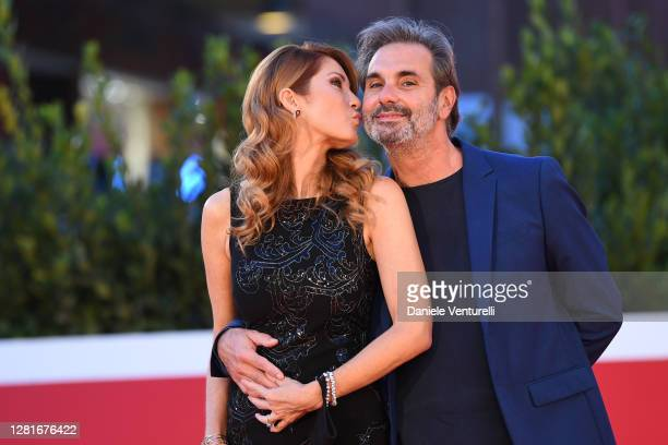 """Milena Miconi and Mauro Graiani attend the red carpet of the movie """"El Olvido Que Seremos"""" during the 15th Rome Film Festival on October 22, 2020 in..."""