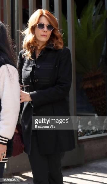 Milena Miconi arrives to pay tribute to Fabrizio Frizzi as his body lies in State at the headquarters of RAI in Viale Mazzini on March 27 2018 in...