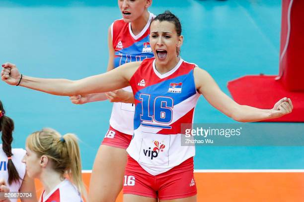 Milena Rasic of Serbia celebrates during 2017 Nanjing FIVB World Grand Prix Finals between Brazil and Serbia on August 5 2017 in Nanjing China