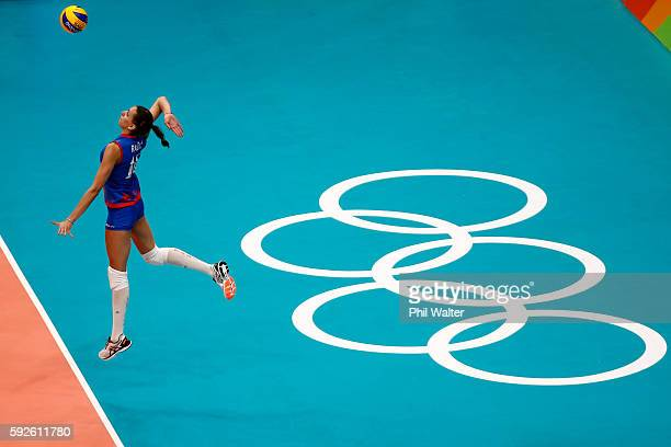 Milena Rasic of Serbia serves during the Women's Gold Medal Match between Serbia and China on Day 15 of the Rio 2016 Olympic Games at the...