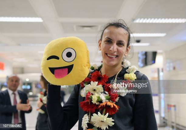 Milena Rasic of VakifBank poses for a photo after arriving in Istanbul Turkey on December 11 2018 VakifBank gained the gold medal in the 2018 FIVB...