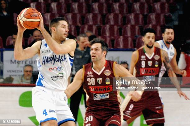 Milenko Tepic and Marco Cardillo of Happy Casa competes with Bruno Cerella and Austin Daye of Umana during the LBA Legabasket of Serie A match...