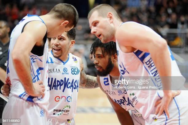 Milenko Tepic - Nic Moore - Scott Suggs - Tautvydas Lydeka of Happy Casa talks over during the LBA LegaBasket of Serie A match between Virtus...