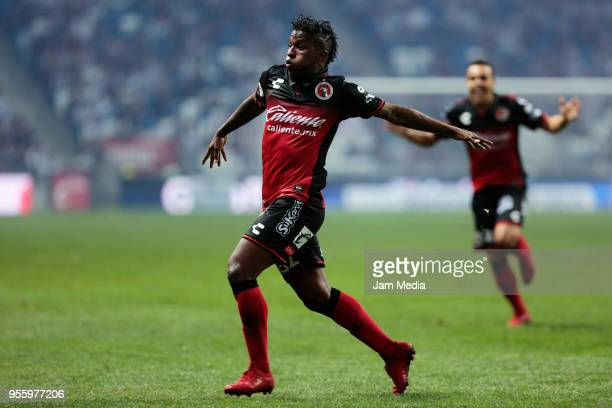 Miler Bolanos of Tijuana celebrates after scoring the second goal of his team during the quarter finals second leg match between Monterrey and...