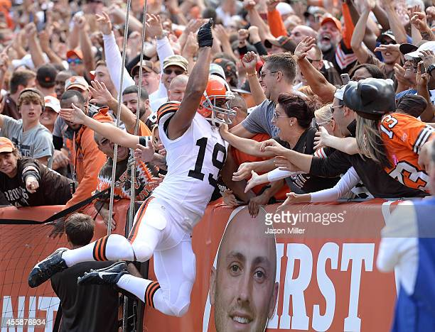 Miles Austin of the Cleveland Browns celebrates his third quarter touchdown against the Baltimore Ravens at FirstEnergy Stadium on September 21 2014...