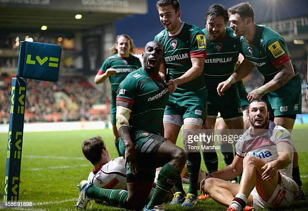 Miles Benjamin of Leicester Tigers celebrates after scoring a try during the LV= Cup match between Leicester Tigers and Sale Sharks at Welford Road...