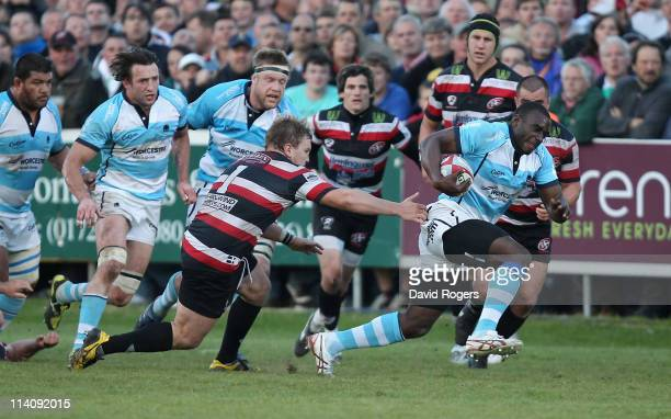 Miles Benjamin of Worcester breaks away with the ball during the RFU Championship playoff final 1st Leg match between Cornish Pirates and Worcester...