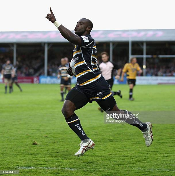 Miles Benjamin of Worcester celerbates as he scores a try during the RFU Championship play off second leg match between Worcester Warriors and...