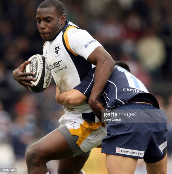 Miles Benjamin of Worcester is tackled during the Guinness Premiership game between Bristol and Worcester Warriors at The Memorial Stadium on May 3...