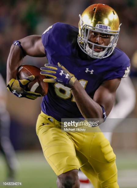 Miles Boykin of the Notre Dame Fighting Irish runs the ball after a reception during the game against the Stanford Cardinal at Notre Dame Stadium on...