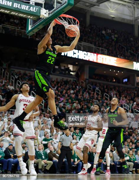 Miles Bridges dunks the ball during a game against the Indiana Hoosiers at Breslin Center on January 19 2018 in East Lansing Michigan