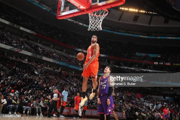 Miles Bridges of Team USA dunks the ball against Team World during the 2020 NBA All-Star Rising Stars Game on February 14, 2020 at the United Center...