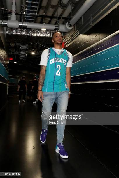 Miles Bridges of the Charlotte Hornets arrives to the arena before the game against the Orlando Magic on April 10 2019 at Spectrum Center in...