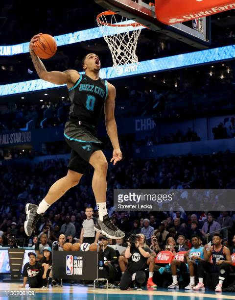 Miles Bridges of the Charlotte Hornets attempts a dunk during the ATT Slam Dunk as part of the 2019 NBA AllStar Weekend at Spectrum Center on...