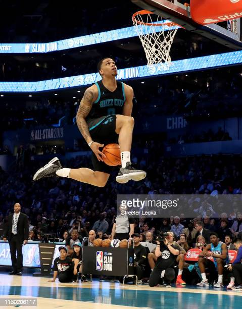 Miles Bridges of the Charlotte Hornets attempts a dunk during the AT&T Slam Dunk as part of the 2019 NBA All-Star Weekend at Spectrum Center on...